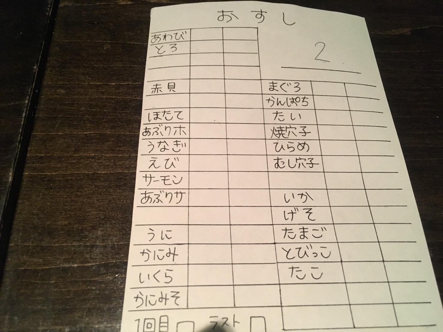 三宮の食べ放題 寿司隆明の注文票
